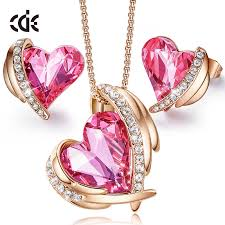 CDE <b>Women Necklace</b> Earrings <b>Jewelry</b> Set <b>Embellished</b> With ...