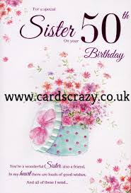 for a special sister on your 50th birthday card
