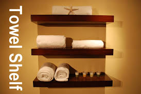 ... Wall Shelves For Towels Brown Stained Wooden Rack Magnificent Bathroom  Wall Shelves Design Industry Standard Design ...
