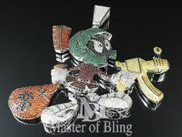 mens custom lab simulated diamond marvin the martian pendant charm