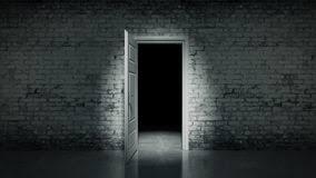 3d open door in a white vine brick wall vector ilration
