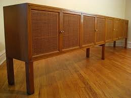 Vintage extra long credenza with caned doors