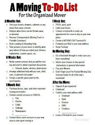 A Moving To Do List For The Organized Mover Free Printable