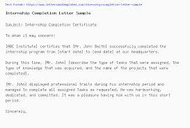 Internship Completion Letter Sample