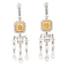 3 17 ct fancy yellow diamond chandelier earrings