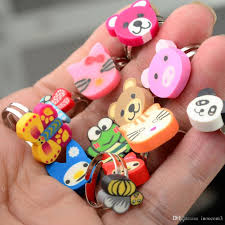 Mixed Cartoon Animal Finger Rings Girls Kids Children's Polymer ...