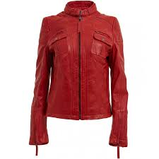 womens red leather motorcycle jacket las quilted biker jacket