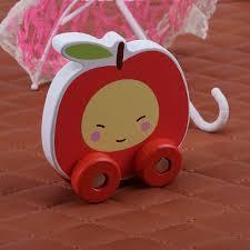 Classic Wooden Mini Cartoon <b>Fruit</b>-<b>Shaped</b> Cart Vehicle Children ...