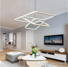 square double glow led chandeliers modern led pendant lights aluminum white hanging chandelier for dining kitchen room high brightness glass pendant lights