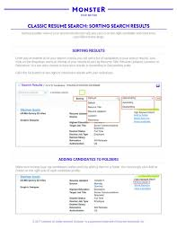 Resumes Search Quick Guide Classic Resume Search Sorting Search Results