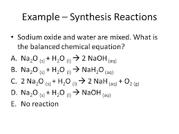 example synthesis reactions