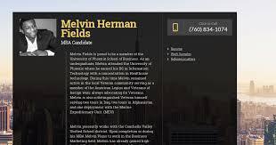 Melvin Herman Fields, MBA Candidate   WiseIntro Portfolio