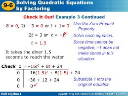 holt algebra 1 9 6 solving quadratic equations by factoring 8 0
