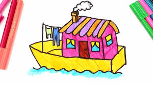 Small Picture Drawing and Coloring a boat house Learn types of houses coloring