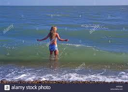 Young blond back bikini