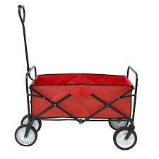 red heavy duty foldable garden trolley cart wagon truck