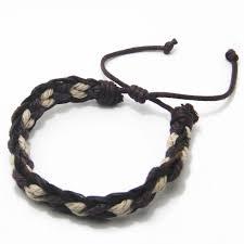 bracelet brown beige embedded braid leather bracelets
