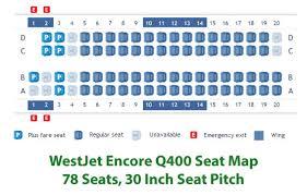 westjet encore q400 seat map or seating chart