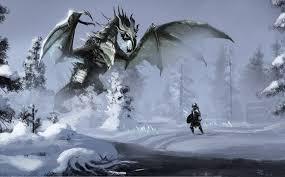 Art Skyrim winter snow dragon warrior river stream forest magic dragons  fantasy warrior warriors elder scrolls wallpaper   2000x1240   84777