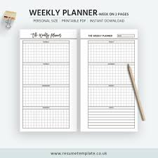 2019 Weekly Planner Week On 2 Pages Personal Size Planner