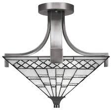 apollo semi flush with 2 bulbs in graphite 15 square pewter tiffany glass