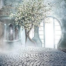 photo studio wedding background wallpaper. Sunshine Through Arch Door Indoor Fantasy Wedding Photo Background White Flower Trees Staircase Photography Photoshoot Backdrops Brick Floor Studio For Wallpaper