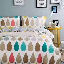 colorful raindrops printed 100 egyptian cotton queen king size bedding set duvet cover set bedroom quilt sets duvet covers full from queen s