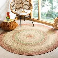 braided rust multi 6 ft x 6 ft round area rug