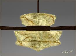 Bayview Market ~ Low Prim Art Deco Ceiling Fan Tanslucent Onyx Lamp Shade ~  On Off