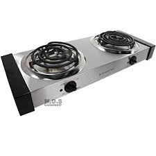 electric stove double burners countertop portable stainless steel cool touch panels wantitall