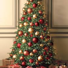 Delectable Look Of Red And Gold Christmas Tree Decorating Ideas : Beautiful  Design Ideas Using Rounded