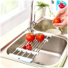 in sink dish rack stainless steel kitchen sink stainless steel drain retractable shelf vegetables bowls dishes