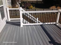 gray composite decking. Contemporary Composite Composite Deck Using Fiberondecking Castle Grey Decking With White PVC  Railing And Black Square Aluminum Balusters Inside Gray Decking Y