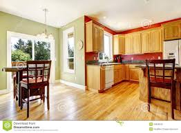 Red And Yellow Kitchen Top Yellow Kitchen With Wood And Red And Green Colors Stock Photos
