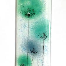 green flowers fused glass wall art panel glass art glass