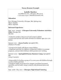 Nanny Resume Examples Simple Resumes For Nannies Examples Of Nanny Resumes Examples Of Resumes