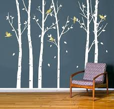 tree stencil for wall birch original paint decorative large decor with birds decal mask trees