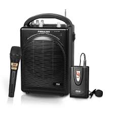 pyle pwma200 portable pa speaker microphone system kit fm stereo radio includes