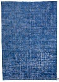 blue embroidered over dyed turkish vintage rug 8 9 x 12
