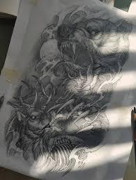 эскиз татуировки со свирепым медведем балванки татуировки