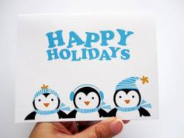 Set of 6 Penguin Christmas Happy Holidays Cards A348 | MariaPalito ...