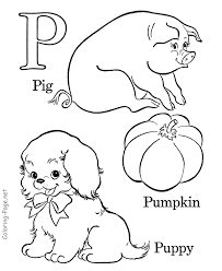 Small Picture Alphabet coloring book page Letter P Letter O P Q