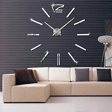 modern design 3d diy frameless wall clock kit for home decor