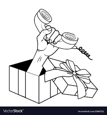 Design Black And White Art Pop Art Gift Box Cartoon In Black And White