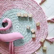 pink rug nursery handmade crochet mint and round cotton kids decor