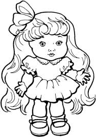 Doll With Nice Long Hair Coloring Page Free Printable Coloring Pages