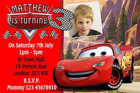 personalised cars movie mcqueen lightning birthday invitations personalised cars movie mcqueen lightning birthday invitations