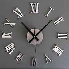 generic diy luxury 3d wall clock large size home decoration art clock silver