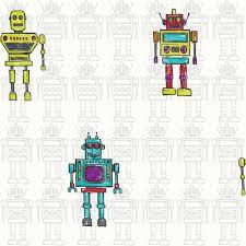 Kids Wallpaper For Bedroom Arthouse Retro Robot Metallic Childrens Kids Bedroom Wallpaper 534002