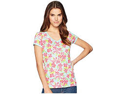 Us Polo Assn Womens Flower Lace Neck Tee